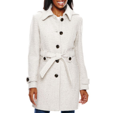 jcpenney.com | Liz Claiborne® Hooded Wool-Blend Coat