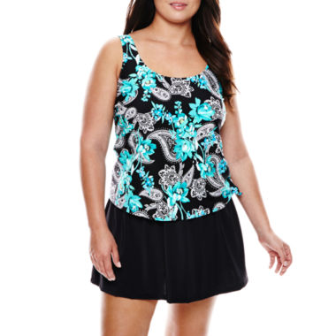 jcpenney.com | Azul by Maxine of Hollywood Faux Skirtini 1-Piece Swimdress - Plus