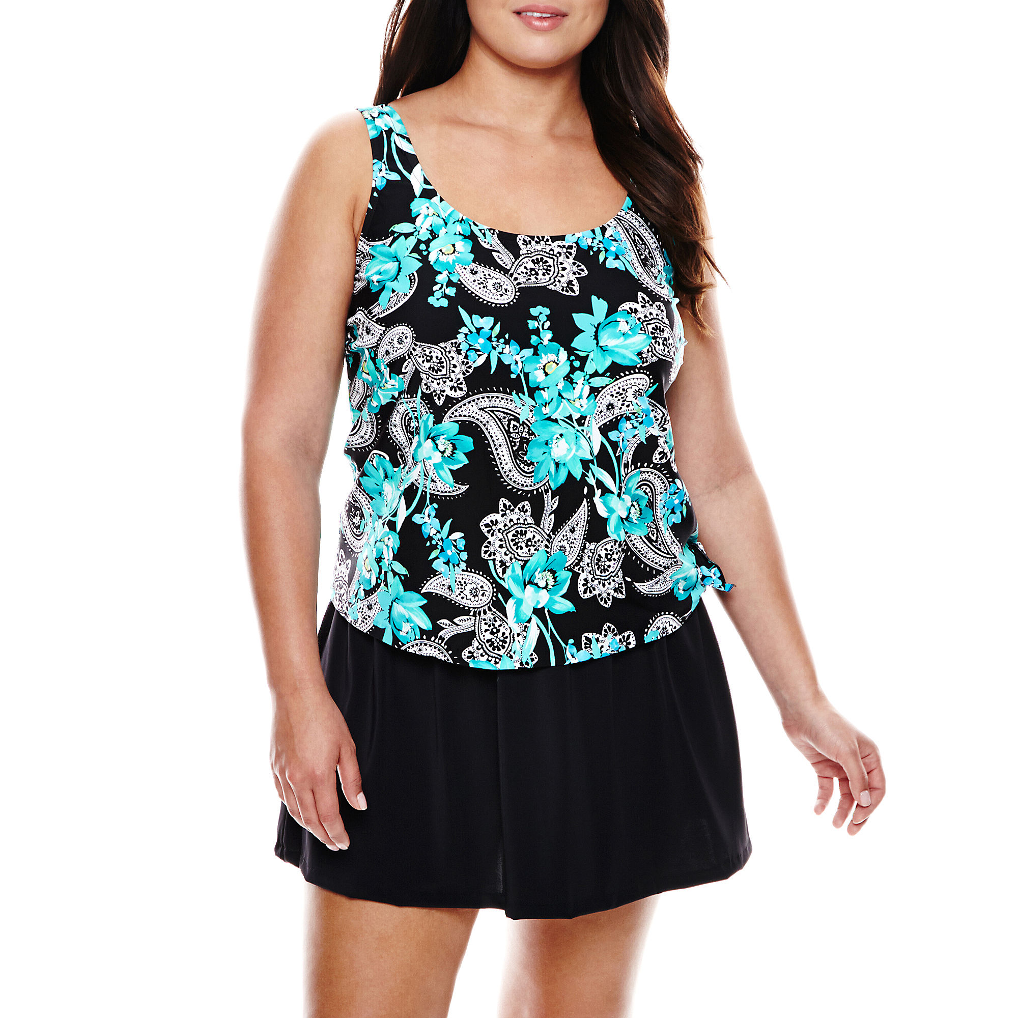 Azul by Maxine of Hollywood Faux Skirtini 1-Piece Swimdress - Plus plus size,  plus size fashion plus size appare