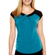 Worthington® Cap-Sleeve Colorblock Top - Petite