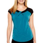 Worthington® Cap-Sleeve Colorblock Top - Petite