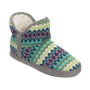 Dearfoams® Fairisle-Trim Pile Bootie Slippers