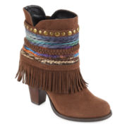 Just Dolce By Mojo Moxy Blanket Fringe and Braid Ankle Booties