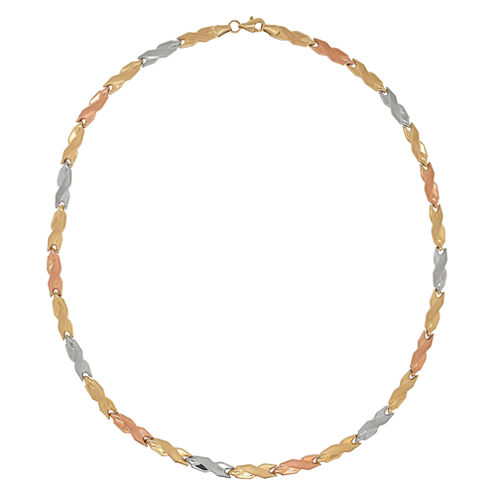 10K Tri-Color Gold 4.48mm Hollow Stampato Link Necklace