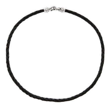jcpenney.com | Mens Stainless Steel & Woven Black Leather Necklace