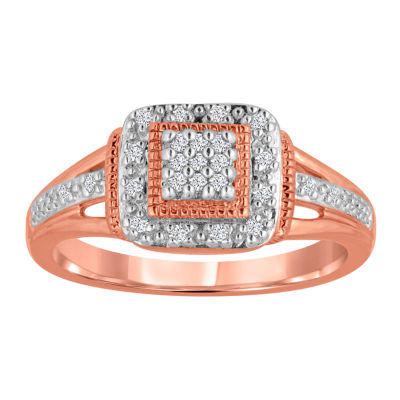1/10 CT T.W. Diamond Rose-Gold Plated Ring