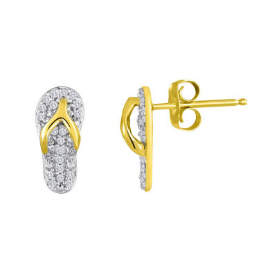 jcpenney.com | 1/10 CT. T.W. Diamond 14K Yellow Gold Over Sterling Silver Flip Flop Earrings