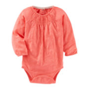 OshKosh B'gosh® Long-Sleeve Striped Knit Bodysuit - Baby Girls 3m-24m