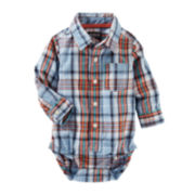 OshKosh B'gosh® Long-Sleeve Blue Plaid Bodysuit - Baby Boys 3m-24m