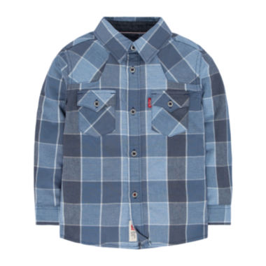 jcpenney.com | Levi's® Long-Sleeve Plaid Barstow Western Shirt - Toddler Boys 2t-4t