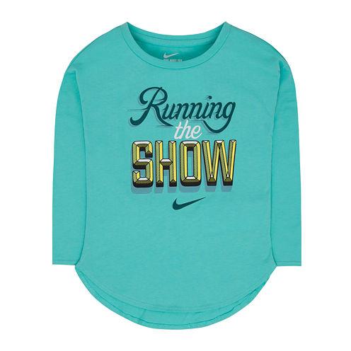 Nike® Long-Sleeve Running The Show Tee - Preschool Girls 4-6x