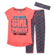 RBX 3-pc. Girl Power Tee, Capris and Headband Set - Preschool Girls 4-6x