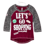 Beautees 3/4-Sleeve High-Low Raglan Top with Patches & Necklace - Girls 7-16