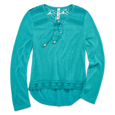 jcpenney.com | Beautees Long-Sleeve Crochet Lace-Up Top - Girls 7-16