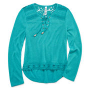 Beautees Long-Sleeve Crochet Lace-Up Top - Girls 7-16
