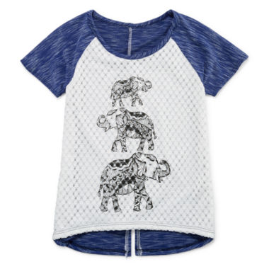 jcpenney.com | Insta Girl Short-Sleeve Crochet-Front Graphic Top - Girls 7-16