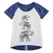 Insta Girl Short-Sleeve Crochet-Front Graphic Top - Girls 7-16