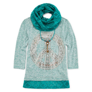 jcpenney.com | Knit Works® 3/4-Sleeve Top and Lace Scarf - Girls 7-16 and Plus