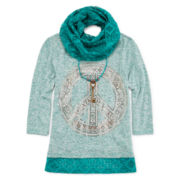 Knit Works® 3/4-Sleeve Top and Lace Scarf - Girls 7-16 and Plus