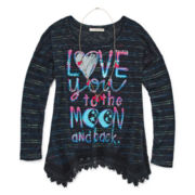 Self Esteem® Long-Sleeve Graphic Sharkbite Tunic with Necklace- Girls 7-16