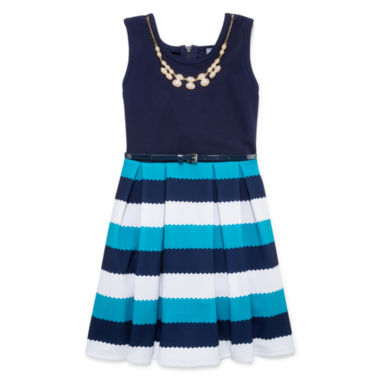 jcpenney.com | Knit Works® Sleeveless Stripe Belted Ottoman Skater Dress - Girls 7-16