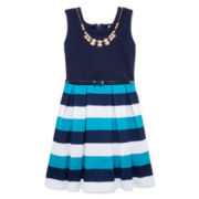 Knit Works® Sleeveless Stripe Belted Ottoman Skater Dress - Girls 7-16