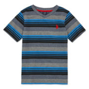 U.S. Polo Assn.® Marled Striped V-Neck Tee - Preschool Boys 4-7