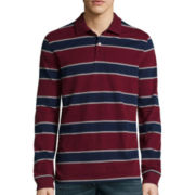 St. John's Bay® Long-Sleeve Striped Faux-Suede Polo