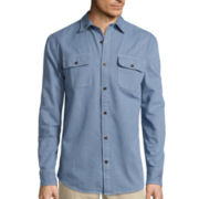St. John's Bay® Long-Sleeve Corded Denim Sport Shirt