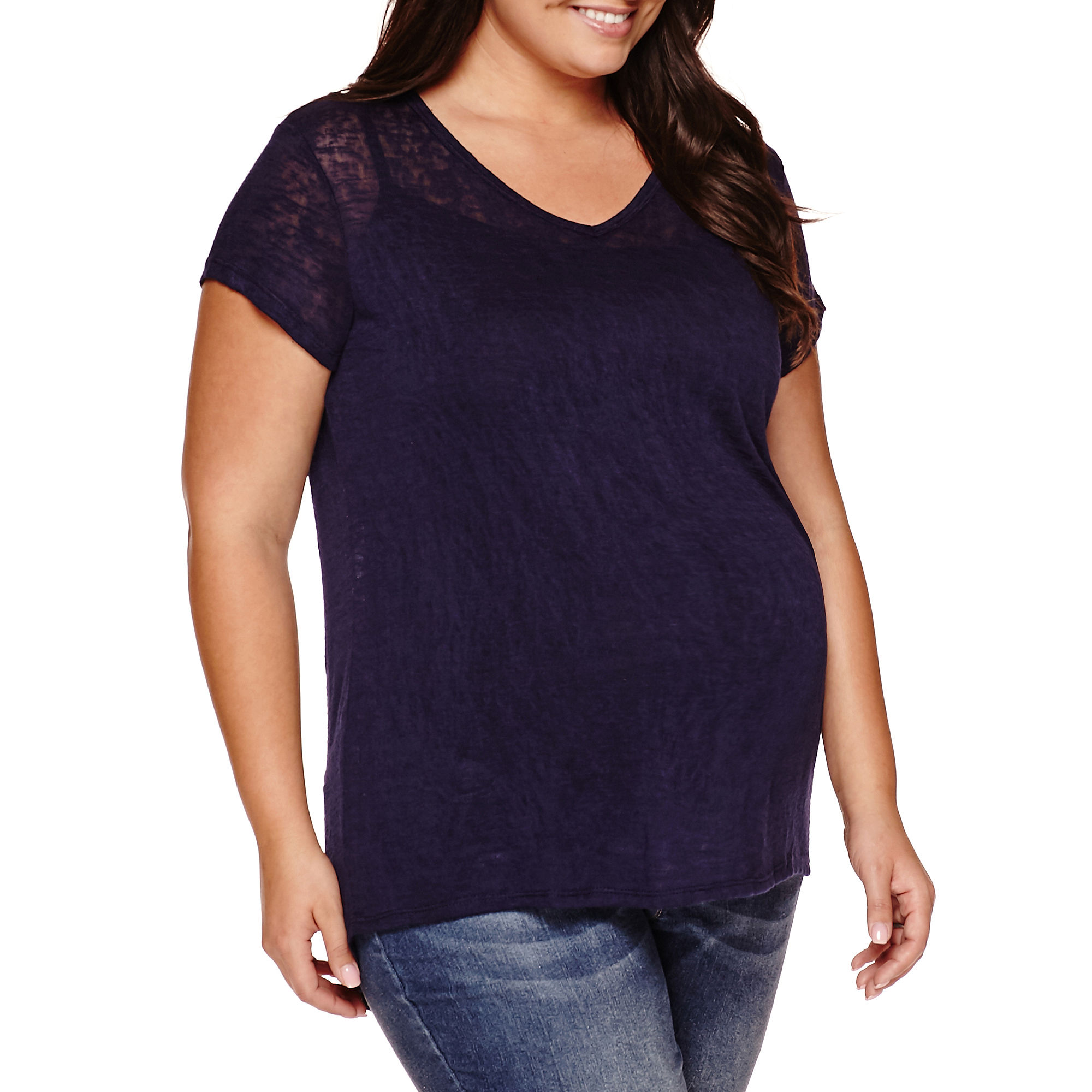 Maternity Short-Sleeve Burnout Tee - Plus plus size,  plus size fashion plus size appare
