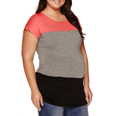 jcpenney.com | Maternity Short-Sleeve Colorblock Shirt - Plus