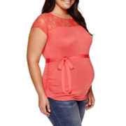 Maternity Sleeveless Lace-Yoke Tee - Plus