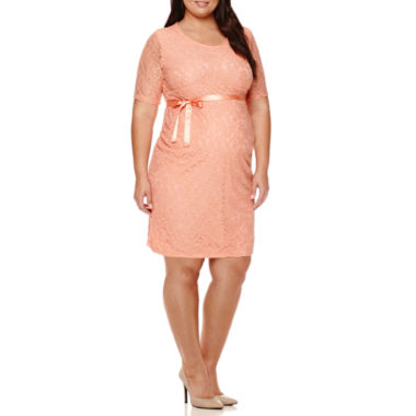 jcpenney.com | Maternity Elbow-Sleeve Lace Dress with Bow Belt - Plus