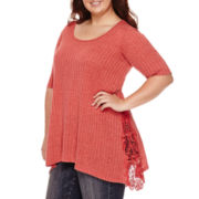 Miss Chevious Short-Sleeve Ribbed Swing Mockneck Tee - Plus