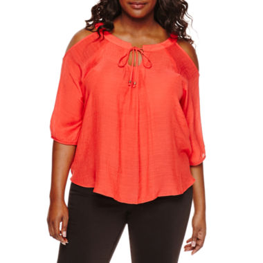 jcpenney.com | by&by Elbow-Sleeve Cold-Shoulder Crochet-Back Peasant Blouse - Plus