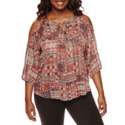 by&by Cold-Shoulder Printed Peasant Top - Plus
