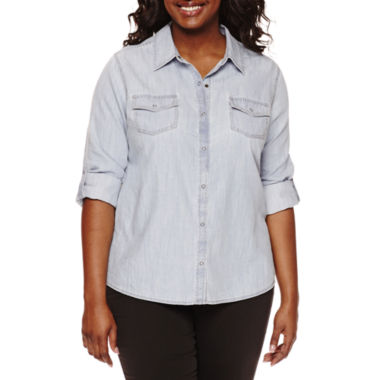 jcpenney.com | Arizona Long-Sleeve Denim Shirt - Juniors Plus