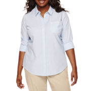 Arizona Long-Sleeve Woven Uniform Shirt - Juniors Plus