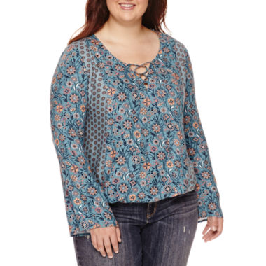 jcpenney.com | Arizona Long-Sleeve Peasant Top - Juniors Plus