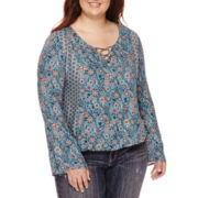 Arizona Long-Sleeve Peasant Top - Juniors Plus