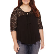 Arizona 3/4-Sleeve Crochet Swing Top - Juniors Plus
