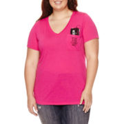 Arizona Short-Sleeve Easy V-Neck Tee with Pocket - Juniors Plus