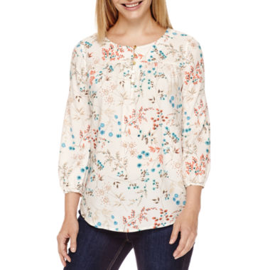 jcpenney.com | St. John's Bay® 3/4-Sleeve Floral-Print Henley Blouse - Tall