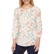 St. John's Bay® 3/4-Sleeve Floral-Print Henley Blouse - Tall