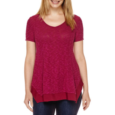 jcpenney.com | St. John's Bay® Short-Sleeve Mixed-Media Hatchi Tee