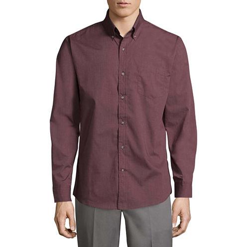 St. John's Bay Poplin Shirt Long Sleeve Button-Front Shirt
