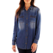 a.n.a® Studded Denim Boyfriend Shirt - Petite