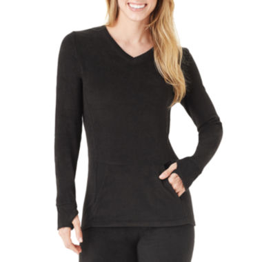 jcpenney.com | Cuddl Duds® Fleecewear Long-Sleeve V-Neck T-Shirt With Pockets