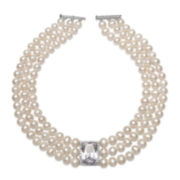 Cultured Freshwater Pearl and Cubic Zirconia Three-Row Necklace