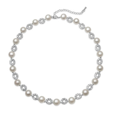 jcpenney.com | Cultured Freshwater Pearl and Cubic Zirconia Silver-Plated Necklace